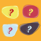 Question marks. Four colored question marks in different bubbles Stock Photos
