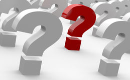 Question marks. Graphic of several gray, 3D questions with a red question mark in the middle Stock Photo