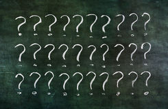 Question marks on grungy blackboard. Royalty Free Stock Photography