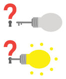 Question marks with keyholes and light bulb keys Royalty Free Stock Image