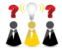 Question marks and a light bulb idea Royalty Free Stock Photos
