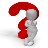 Question Marks And Man Shows Confusion Or Unsure Stock Photo