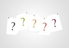 Question marks on note - Find a solution - Quiz and business assistance. Colorful question marks on note - Solution and answer - Quiz and business assistance Stock Photography