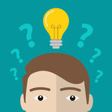 Question marks and one glowing light bulb above head of young man or boy. Insight, inspiration, eureka, aha moment, making decisio Royalty Free Stock Photography