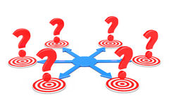 Question Marks over Blue Arrows as Different Ways to Targets. 3d. Question Marks over Blue Arrows as Different Ways to Targets on a white background. 3d Stock Photos