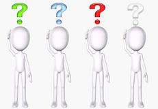 Question marks over people Stock Photography