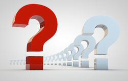 Question marks in perspective Royalty Free Stock Photography