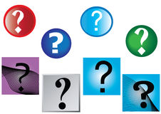 Question marks round and square backgrounds Stock Photo