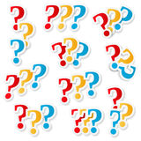 Question Marks. Set on white background Stock Photography