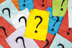 Question marks. On sheets paper stock photos