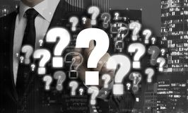 Question marks are shown by businessman concept royalty free stock photos