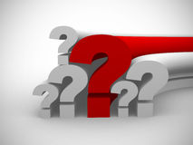 Question marks single red. 3d render Stock Images