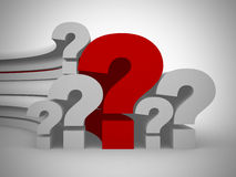 Question marks single red. 3d render Royalty Free Stock Images
