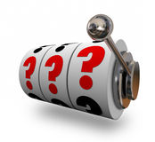 Question Marks on Slot Machine Wheels Uncertainty Risk Stock Photography