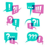 Question marks on speech bubbles icons. Business query vector concept. Discussion communication chat question bubble and answer illustration Royalty Free Stock Photo