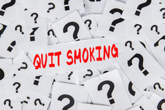 Question marks with text of quit smoking Royalty Free Stock Photography