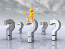 Question Marks with Thinker Royalty Free Stock Images
