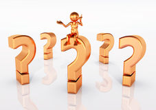 Question Marks with Thinker. 3d illustration with figure and question marks Royalty Free Stock Photography
