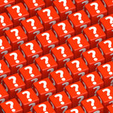 Question marks on toy blocks Royalty Free Stock Images