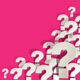 Question Marks white in the corner on a pink background Royalty Free Stock Photos
