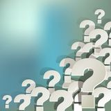 Question Marks white in the corner on a white on blue bokeh background Royalty Free Stock Image