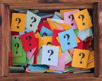 Question marks in a wooden box Stock Image