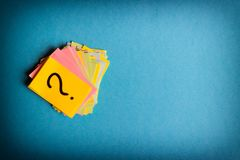 Question marks written reminders tickets.  Royalty Free Stock Photos