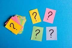 Question marks written reminders tickets.  Royalty Free Stock Photo