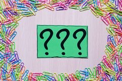 Question marks written reminders tickets stock photos
