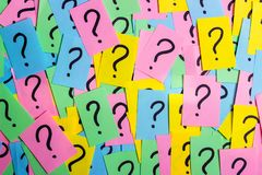 Question marks written reminders tickets.  Stock Photos