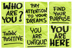 Question and motivational phrases. Find your purpose and other motivational phrases - a set of isolated crumpled sticky notes Stock Photography