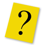 Question note. Question mark indicating unsolved problems on a yellow note Royalty Free Stock Photo