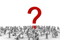 Question of Numbers. A question mark on an infinity of numbers Royalty Free Stock Images