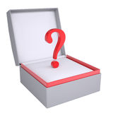 Question in open gift box Stock Photo