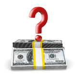 Question on pack of dollars. Isolated 3D Royalty Free Stock Photo
