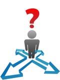Question person decision direction arrows Stock Image
