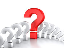Question queue. Queue question symbols on sphere Royalty Free Stock Image