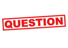 QUESTION. Red Rubber Stamp over a white background Stock Image
