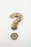 Question-repère de pièces de monnaie photo stock
