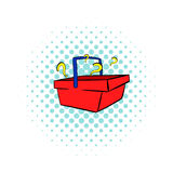 Question in shopping basket icon, comics style Royalty Free Stock Image