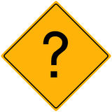 Question Sign. Image of a question mark on a yellow sign Stock Photos