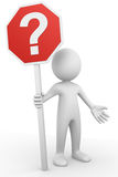 Question sign. Computer generated image of a man holding a question sign Royalty Free Stock Photo