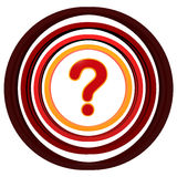 Question sign. Red 3d question sign with colorful circles Royalty Free Stock Photos