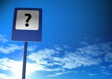 Question sign. On a blue sky Royalty Free Stock Photos