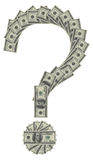Question sign. Combined from hundred dollar banknotes stock illustration