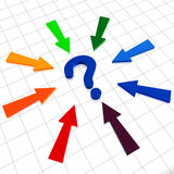 Question sign and arrows. 3d Blue question sign with colorful arrows Stock Photography