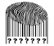 Question Sign on barcode. With fingerprint Royalty Free Stock Images