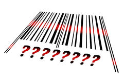Question sign on barcode. Question sign  word on barcode scanned Stock Photos