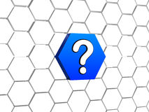 Question sign in blue hexagon Stock Photo