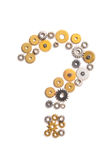 Question sign composed with cogs Royalty Free Stock Photos